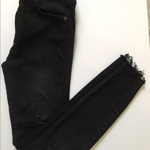 Free People Black High Rise Distressed Jeans Sz.25